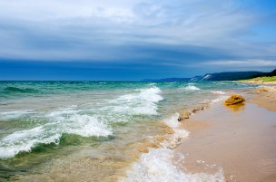 Photo: Moody summer day, clear waters, Lake Michigan beach