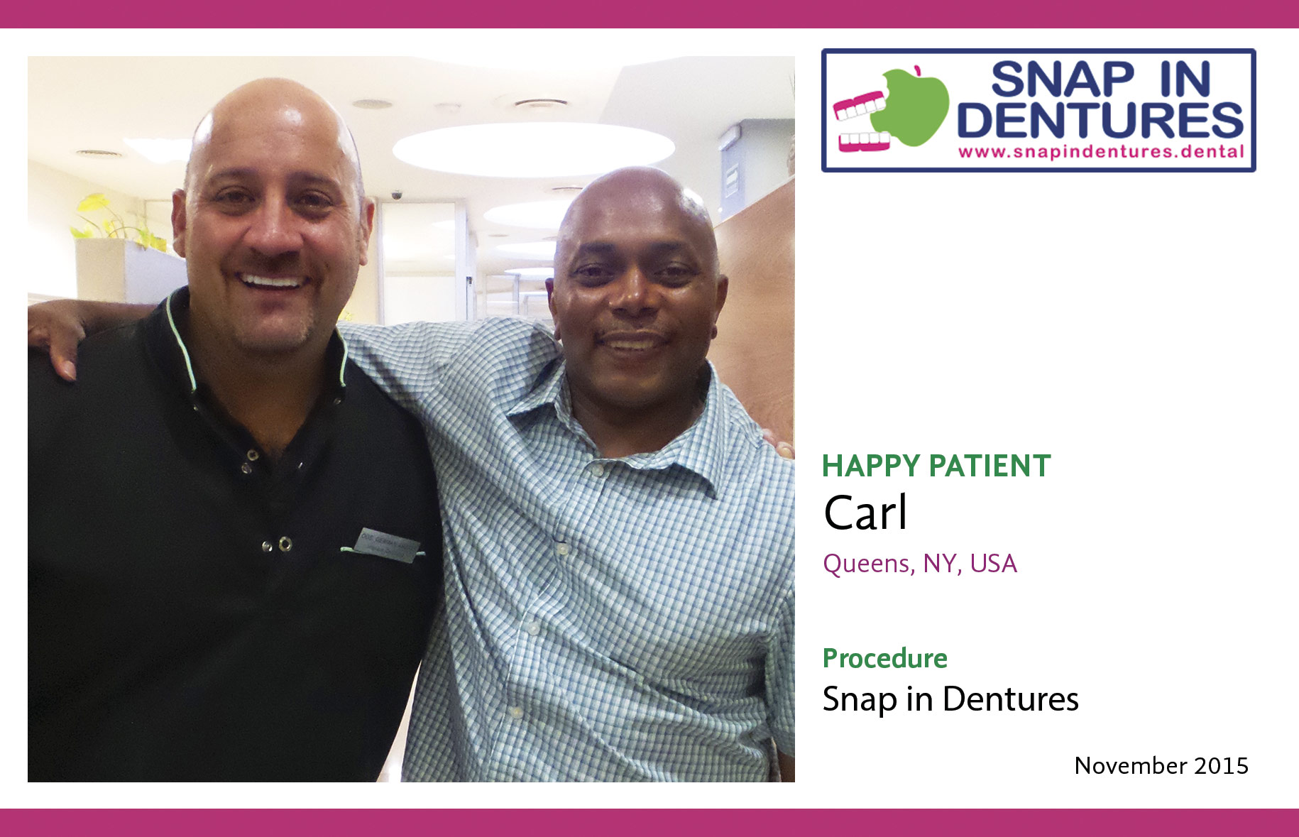 Snap in Dentures: Happy Patient Carl!
