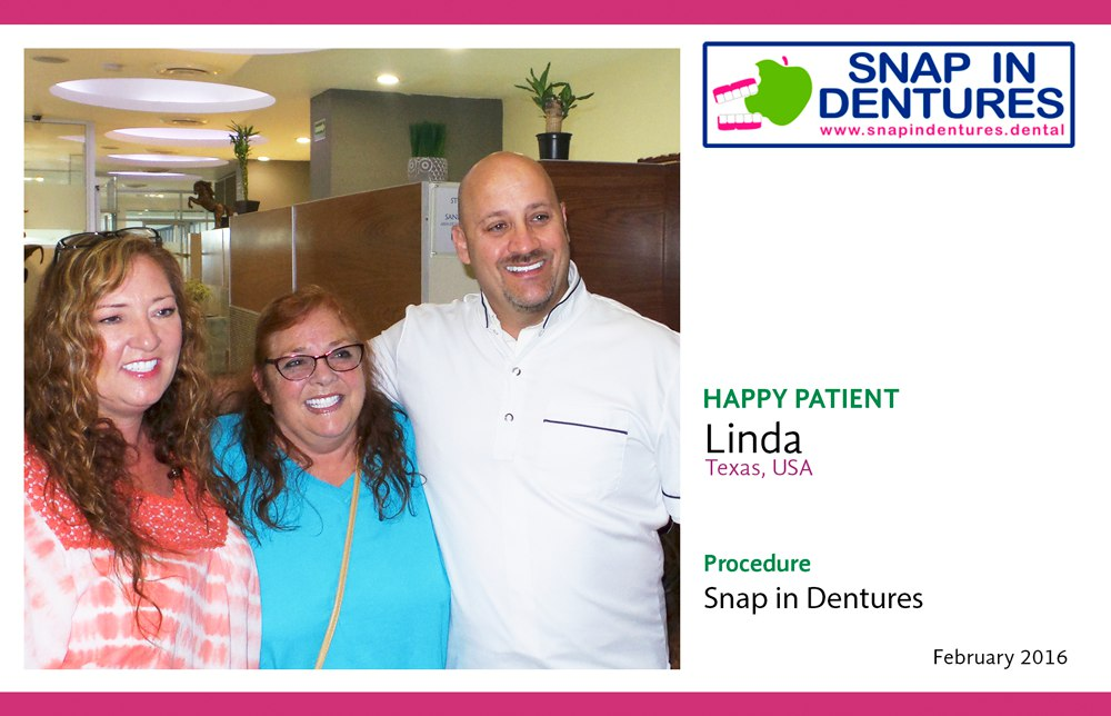 Snap in dentures linda happy patient