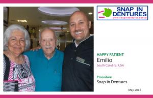 Snap in Dentures Happy Patient: Emilio