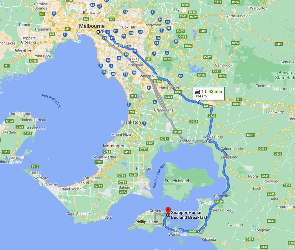 Route from Melbourne to Snapper House
