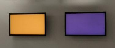 Fonds de vues (two). 2012, digital painting, two screens, computer program, physical random, 2 x 272 cm / Fonds de vues (deux). 2012, programme informatique, deux écrans plats, hasard physique véritable, 2 x 272 cm