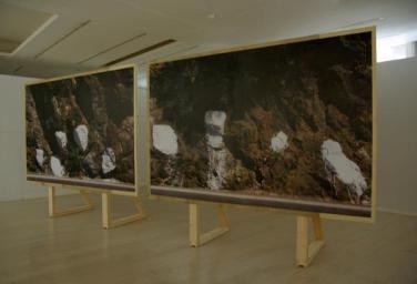 WAY-T. 2010, 2 posters on wood panels, 200 x 300 cm. MAMA, Algiers, Algeria / WAY-T. 2010, 2 affiches sur panneaux de bois, 200 x 300 cm. MAMA, Alger, Algérie