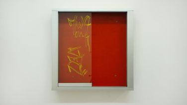 Orange showcase. 2014, glass, aluminum, carpet / Vitrine orange. 2014, verre, aluminium, moquette