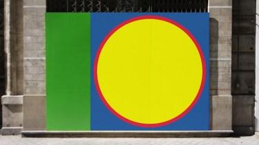 Cored paintings. 2013, first set of recessed paintings, 180 x 180 cm squares realized on green panels / Peintures évidées. 2013, première série de peintures évidées , carrés de 180 x 180 cm réalisés sur panneaux verts