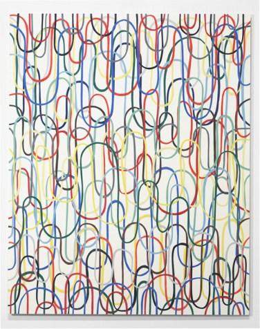 Einige senkrechte Schlaufen Nr.1 (Some Vertical Loops No.1). 2006, PVS strips, transparent varnish, wood, 160 x 128 cm / Quelques Boucles Verticales N°1. 2006, bandes de PVC, vernis transparent, bois, 160 x 128 cm