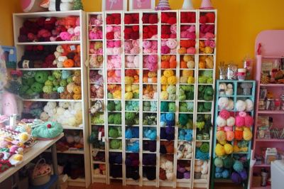 Twinkie Chan's craft room. Just as bright and cheery as I had imagined.