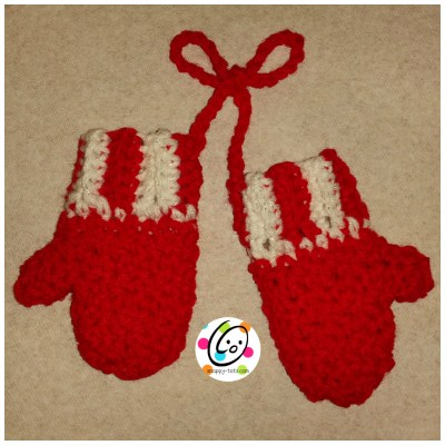 Free crochet pattern for mitten ornament.