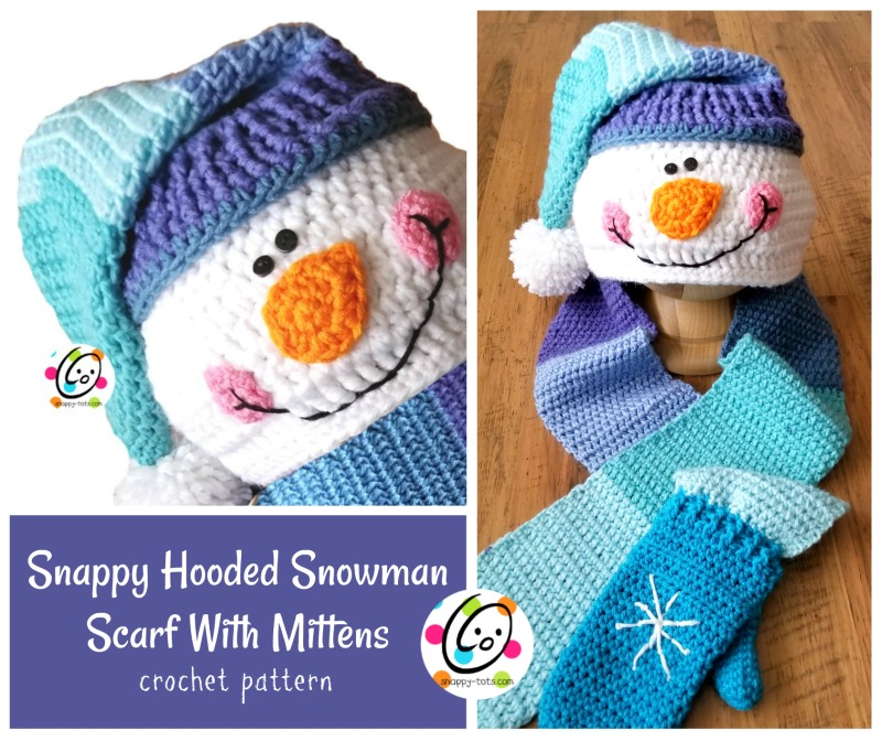Pattern Snappy Hooded Snowman Scarf With Mittens Snappy Tots
