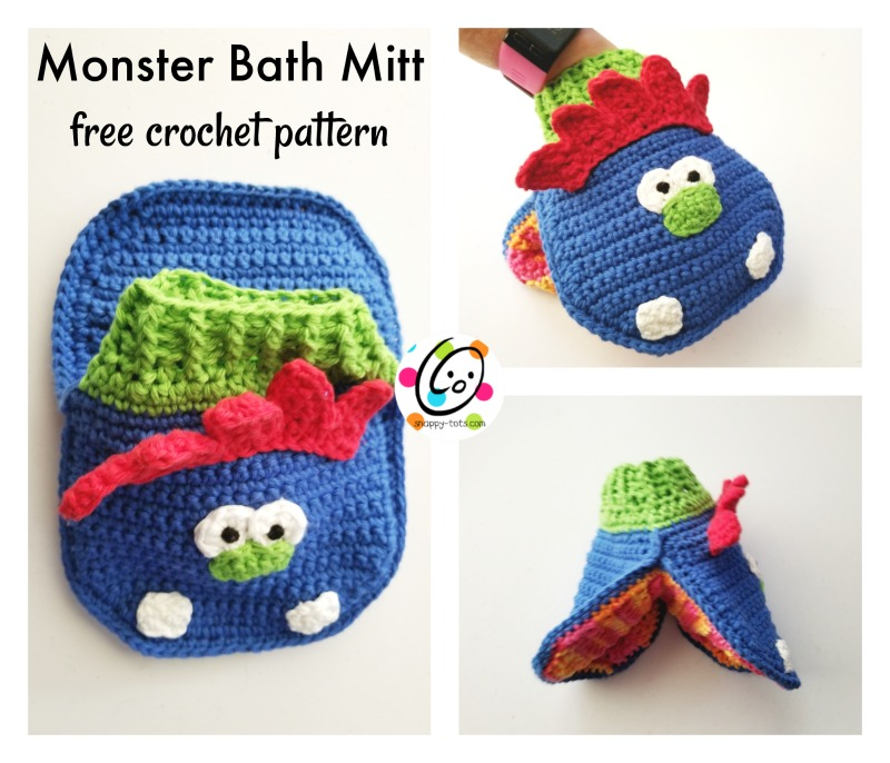 Free Pattern Monster Bath Mitt Snappy Tots