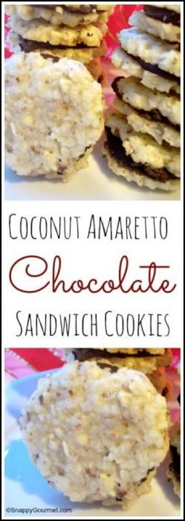 Coconut Amaretto Chocolate Sandwich Cookies recipe - easy homemade cookie! SnappyGourmet.com