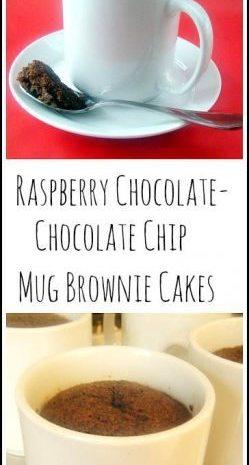 Raspberry Chocolate-Chocolate Chip Mug Brownie Cakes