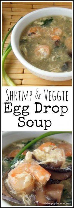 Shrimp & Veggie Egg Drop Soup recipe - easy healthy Chinese soup! SnappyGourmet.com
