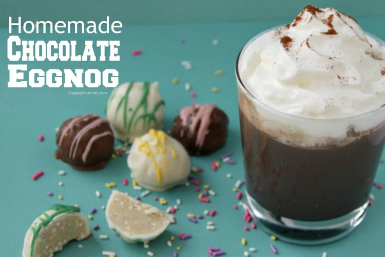 Homemade Chocolate Eggnog (Easter Cocktail) in a glass with whipped cream and candy