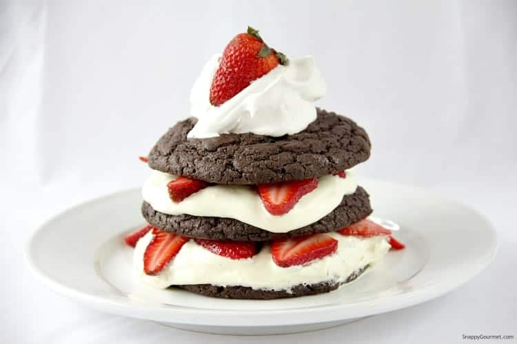 Chocolate Strawberry Shortcake on white plate