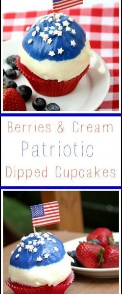 Berries & Cream Patriotic Dipped Cupcakes - easy 4th of July or summer cupcake recipe with red, white, and blue. SnappyGourmet.com