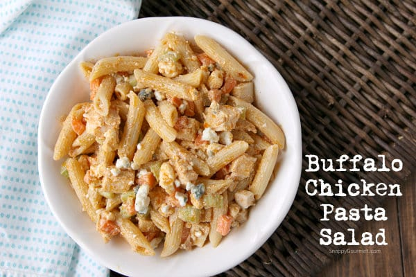 BEST Buffalo Chicken Pasta Salad, easy homemade side or main dish recipe that is a twist on chicken wings! SnappyGourmet.com