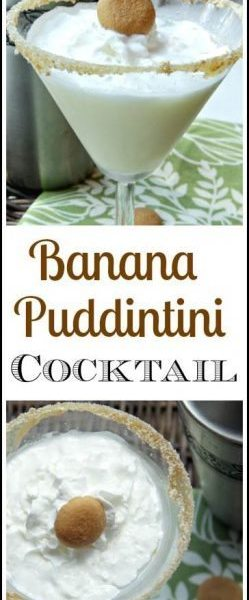 Banana Puddintini Cocktail recipe - easy homemade dessert drink inspired by banana pudding. SnappyGourmet.com