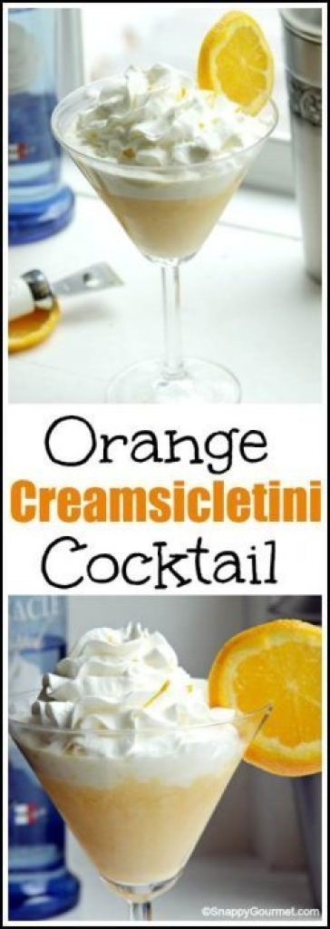 Orange Creamsicletini Cocktail recipe - easy homemade drink and twist on orange creamsicles. SnappyGourmet.com