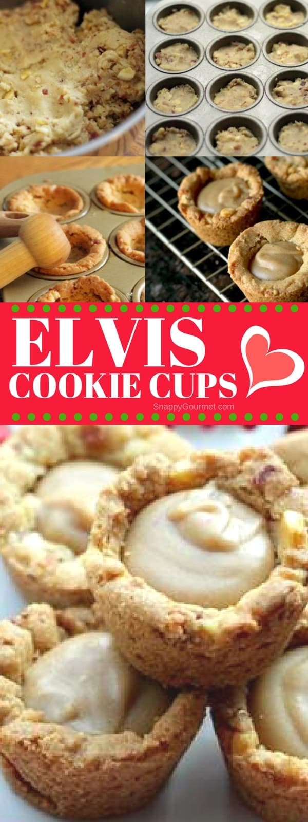 Elvis Cookie Cups Recipe - easy Christmas cookie recipe with peanut butter, bacon, and banana! SnappyGourmet.com