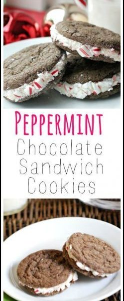 Peppermint Chocolate Sandwich Cookies recipe - easy Christmas and holiday homemade cookie! SnappyGourmet.com