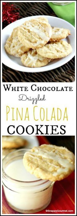 White Chocolate Drizzled Pina Colada Cookies recipe - easy cocktail inspired homemade holiday and Christmas cookie! SnappyGourmet.com