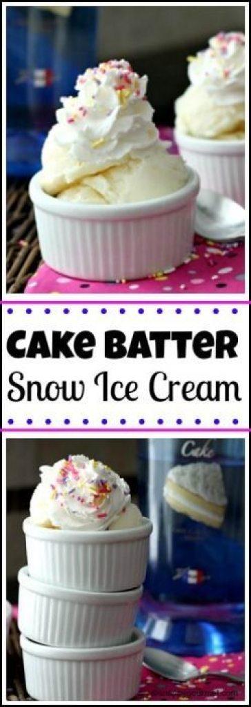 Easy Cake Batter Snow Ice Cream recipe - How to make homemade snow ice cream   snappygourmet.com