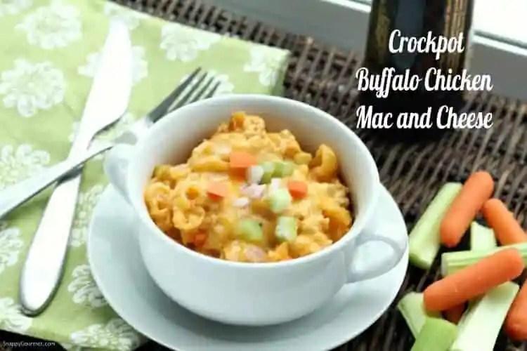 Buffalo Chicken Mac and Cheese (Crockpot) Recipe - buffalo mac and cheese with precooked chicken, pasta, cheese, and veggies
