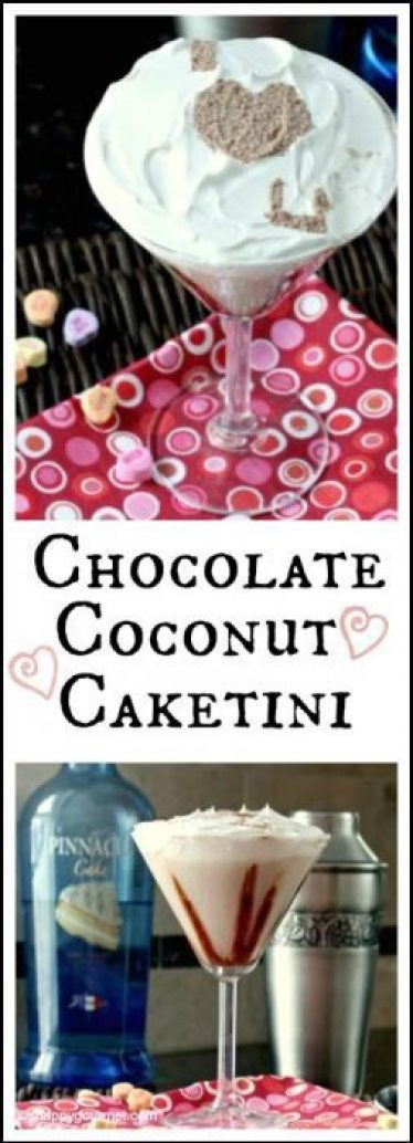 """Chocolate Coconut Caketini Cocktail with fun """"I Love You"""" message for Valentine's Day 