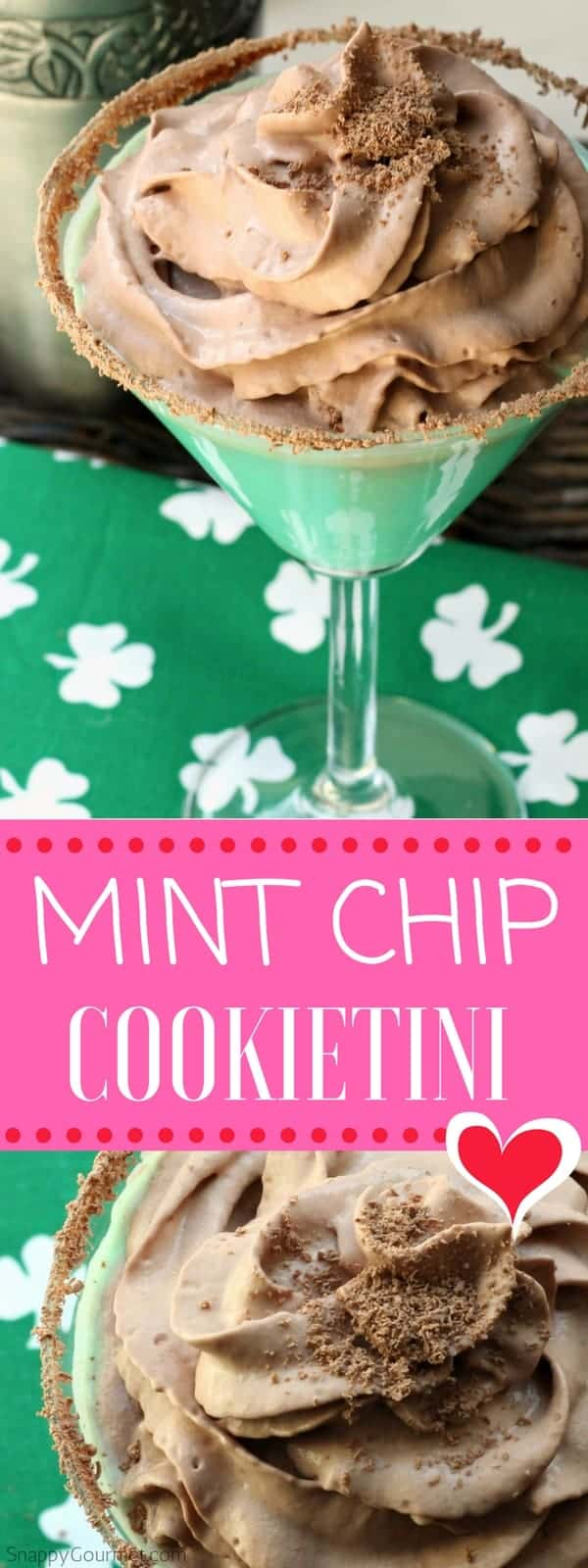 Mint Chip Cookietini Recipe - easy mint cocktail with creme de menthe and cookie dough vodka. Like a Thin Mint shot!