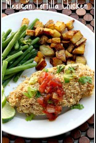 Crunchy Mexican Tortilla Chicken - best easy gluten free chicken dinner recipe that any family will love! SnappyGourmet.com
