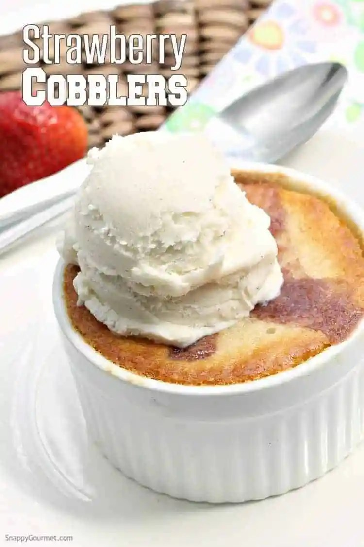 Strawberry Cobbler Recipe - easy ramekin dessert with fresh strawberries