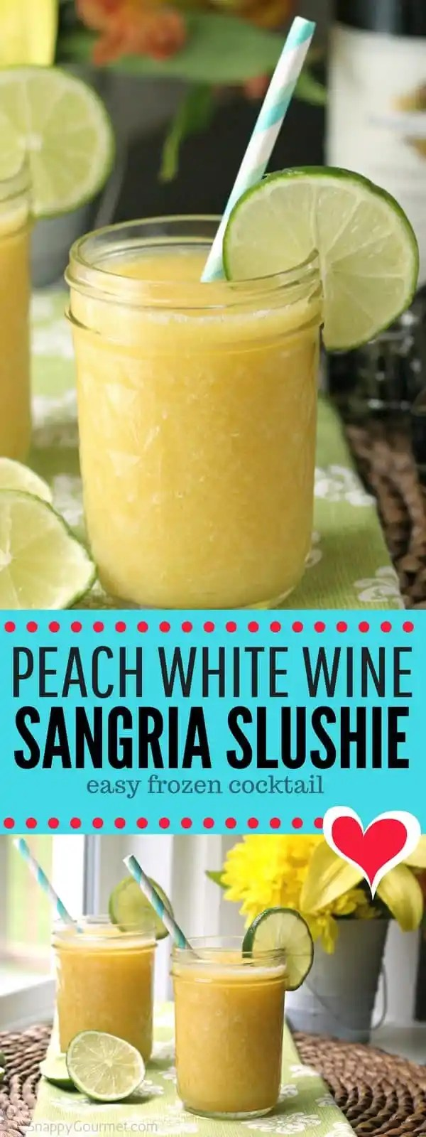Peach White Wine Sangria Slushie - easy frozen cocktail recipe