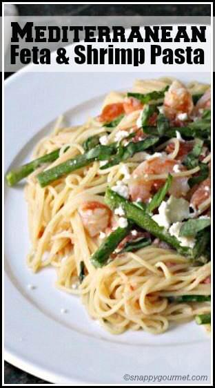 Mediterranean Feta & Shrimp Pasta Recipe - easy pasta family dinner. SnappyGourmet.com
