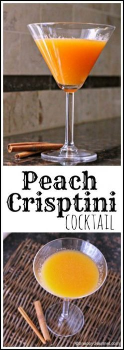 Peach Crisptini Cocktail recipe - easy peach cocktail drink   SnappyGourmet.com