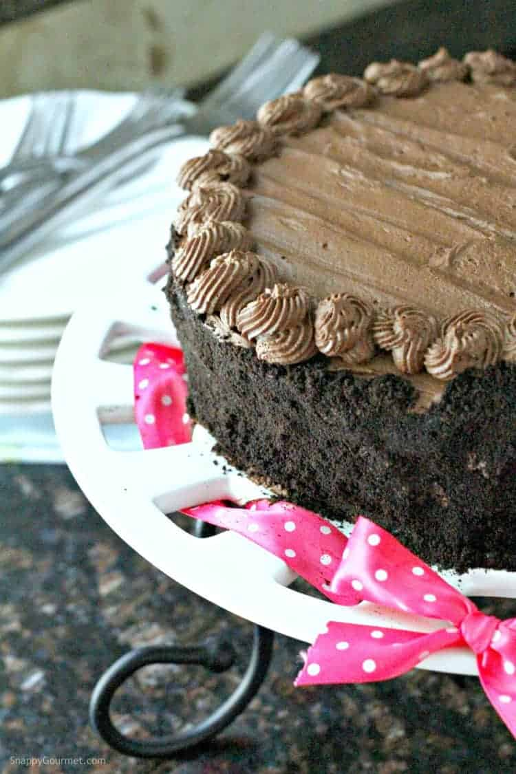 Homemade Birthday Chocolate Brownie Cake Recipe - moist layered dark chocolate cake