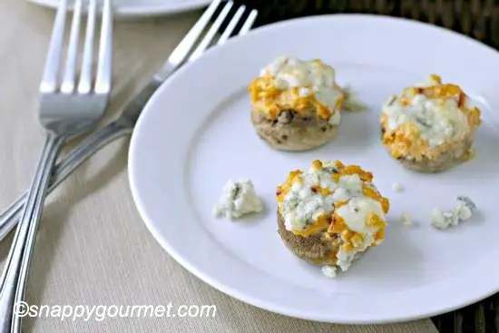 Buffalo Chicken Stuffed Mushrooms recipe - gluten free appetizer | SnappyGourmet.com