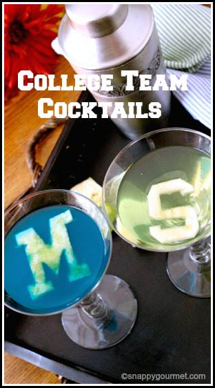 College Cocktails: Recipes for U of M Wolverinetini & MSU Spartantini | SnappyGourmet.com