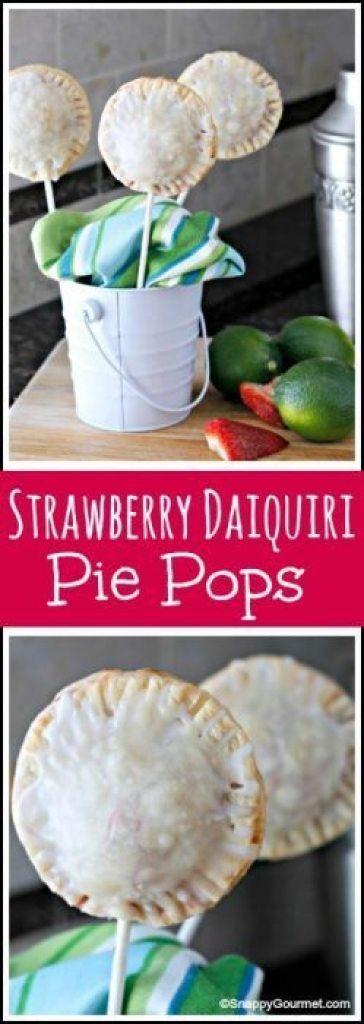 Strawberry Daiquiri Pie Pops Recipe - fun summer dessert on a stick! SnappyGourmet.com