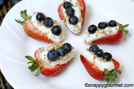 red white blue cheesecake stuffed strawberries | snappygourmet.com