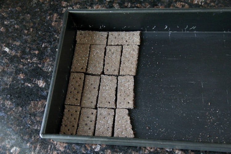 graham crackers in 13x9 inch baking dish