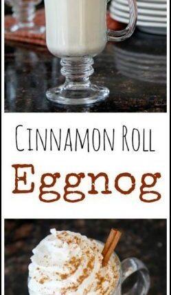 Cinnamon Roll Eggnog recipe - fun twist for an easy homemade eggnog. SnappyGourmet.com