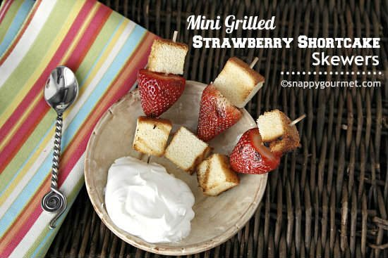 Mini Grilled Strawberry Shortcake Skewers | snappygourmet.com