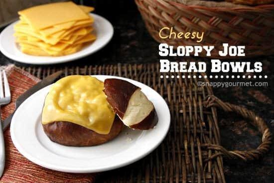 Cheesy Sloppy Joe Bread Bowls | snappygourmet.com