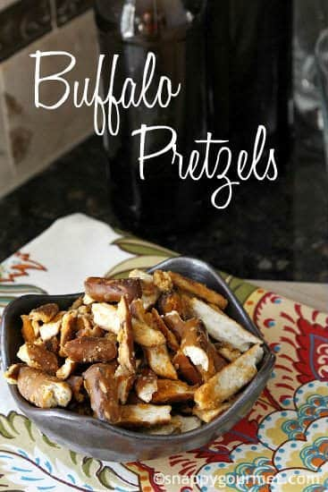 Buffalo Pretzels recipe - easy appetizer or snack and fun for tailgating or the Super Bowl! snappygourmet.com