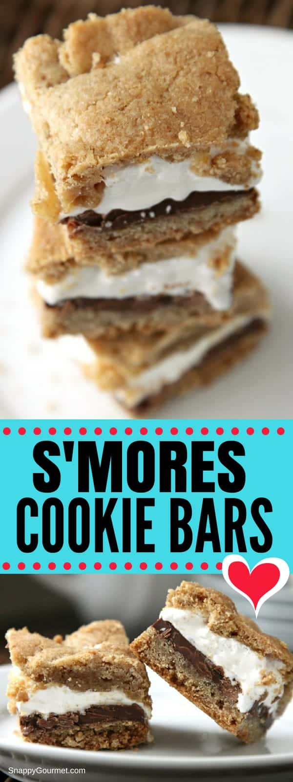 S'mores Bars - fun cookies and easy dessert bars! One of the best potluck desserts and party foods because no campfire needed! #Smores #Potluck #Dessert #SnappyGourmet #Chocolate #Marshmallow #yum #s'more #party #partyfood