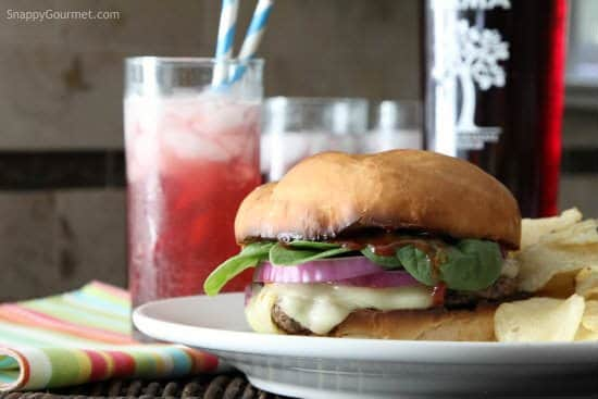 Pomegranate Limeade Sparkler Recipe - easy summer cocktail! SnappyGourmet.com