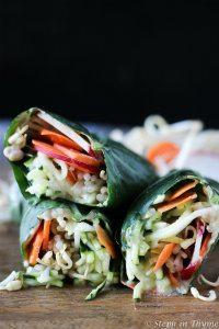 70+ Best Zucchini Recipes (Spiralized Zucchini and Bean Sprout Collard Wrap Recipe)   SnappyGourmet.com