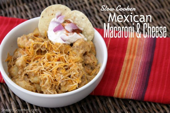 Slow Cooker Mexican Macaroni and Cheese - an easy mac and cheese for your crock pot with only 6 ingredients! SnappyGourmet.com