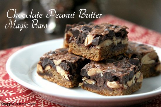 Chocolate Peanut Butter Magic Bars, an easy cookie bars recipe for a fun dessert! SnappyGourmet.com